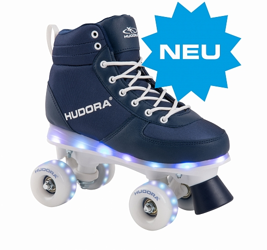 Ролики HUDORA Roller Skates Advanced, navy LED, size 33/34 (13122)